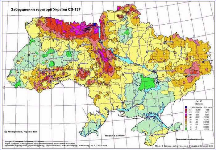 зона загрязнения цезием-137 чернобыльской аэс карта