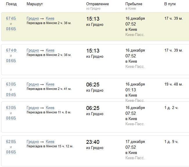 Расписание поездов Гродно → Киев (с пересадкой)
