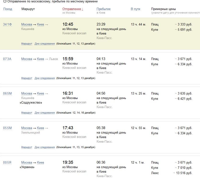 Расписание поездов Москва — Киев
