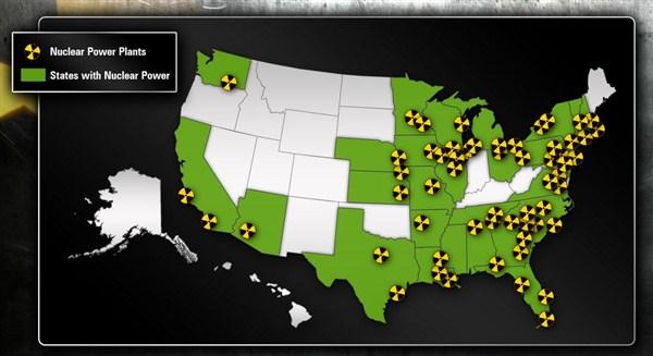 Атомные электростанции США карта