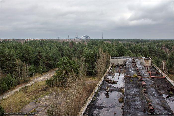 Вид с крыши завода «Юпитер» Припять