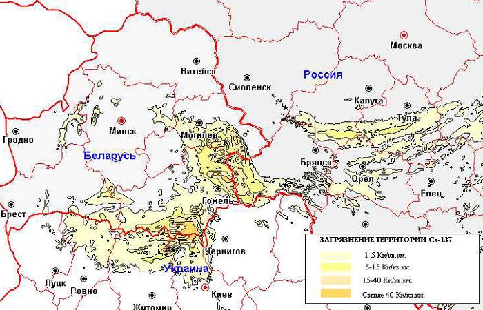 Карта радиоактивного заражения